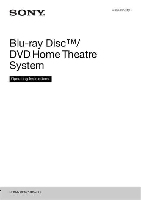 Sony -- BDV-N790W -- Download your lost manuals for free