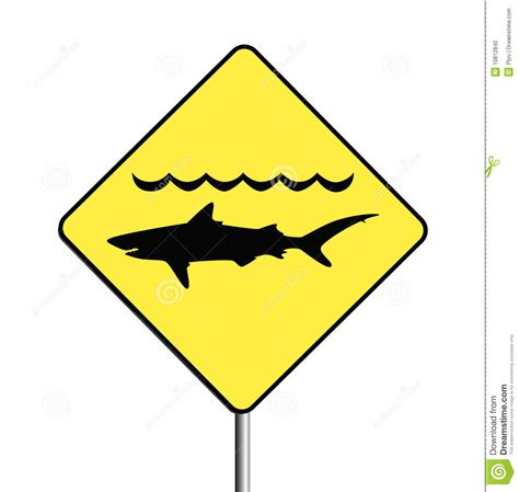 warning sharks sign stock vector illustration attention 10812840