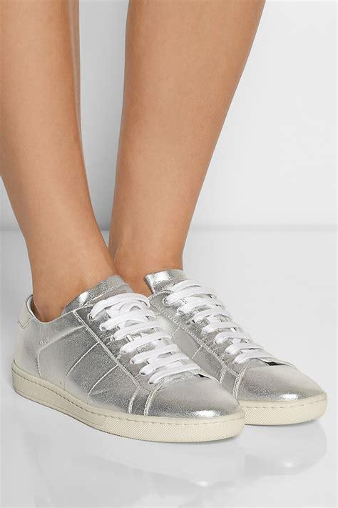 lyst saint laurent metallic leather sneakers  metallic