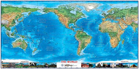 Self Stick Wall Murals world physical wall map americas centered with world
