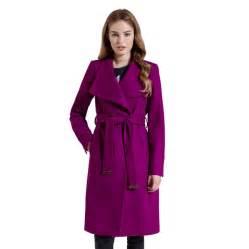 ted baker lorili long wool wrap coat for women in pale purple