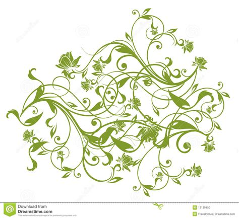 drawing vines pattern green flower and vines pattern stock illustration