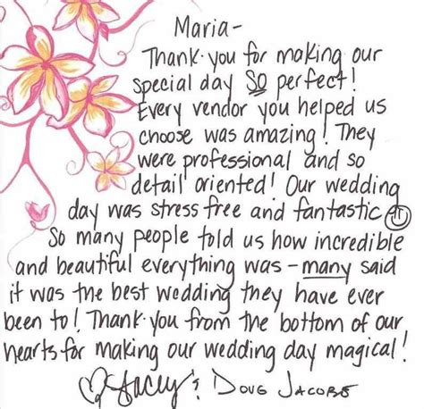thank you letter after wedding reception weddings coordination laguna orange county
