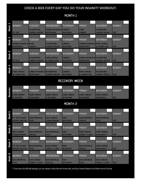 search results for printable 60 day insanity workout