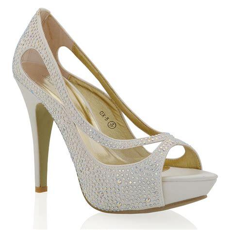 womens high heel platform satin diamante