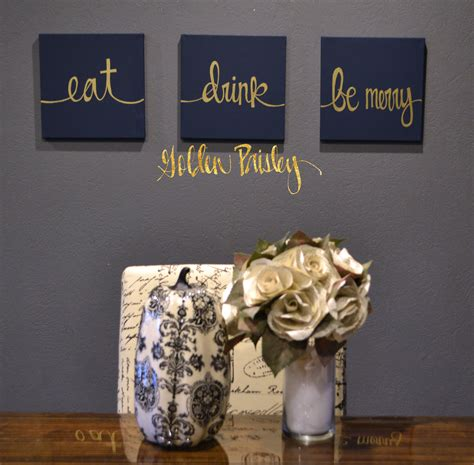 Navy Wall Decor by Eat Drink Be Merry Navy Gold 3 Wall Decor Set