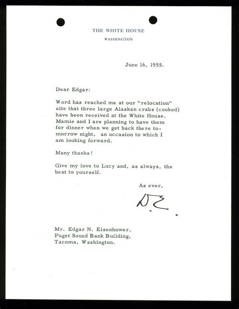 Official White House Letterhead Lot Detail President Dwight D Eisenhower Typed Signed Letter On White House Letterhead