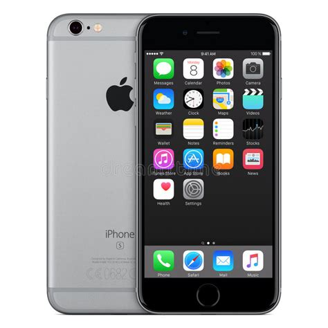 space gray apple iphone 6s front view with ios 9 on the screen editorial photo image 65405301