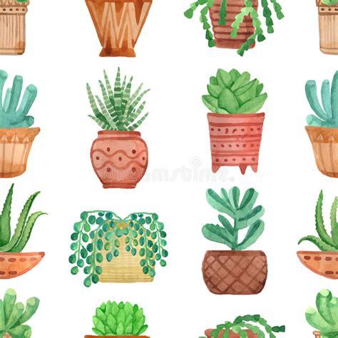 cute pots for plants watercolor seamless pattern house plants in pots stock