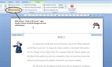 membuat header dan footer pada membuat header dan footer berbeda pada halaman word