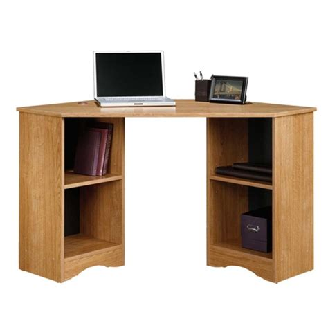 Corner Storage Desk Sauder Beginnings Highland Oak Desk With Storage 413074 The Home Depot