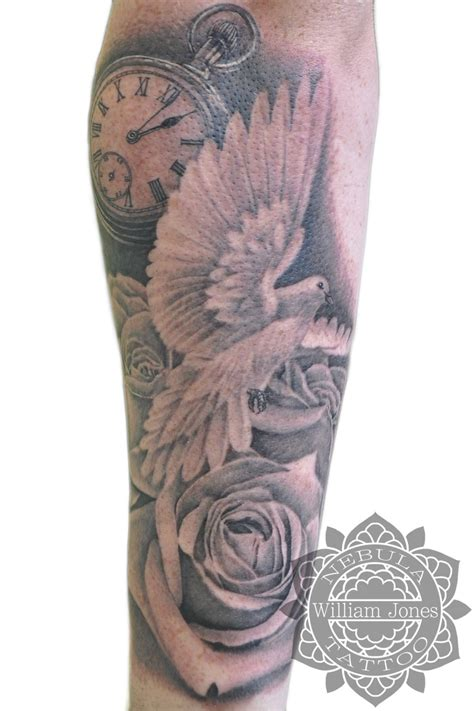 derrick rose leg tattoo dove roses and pocketwatch