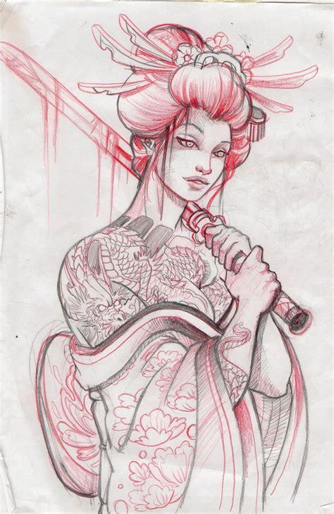 geisha tattoo stencil geisha13 sketch by mojoncio on deviantart tattoo ideas