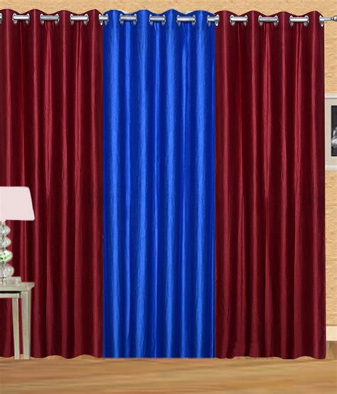 Royal Blue Curtains Handloomdaddy Royal Blue Polyester Plain Eyelet Window Curtain Pack Of 3 Buy Handloomdaddy