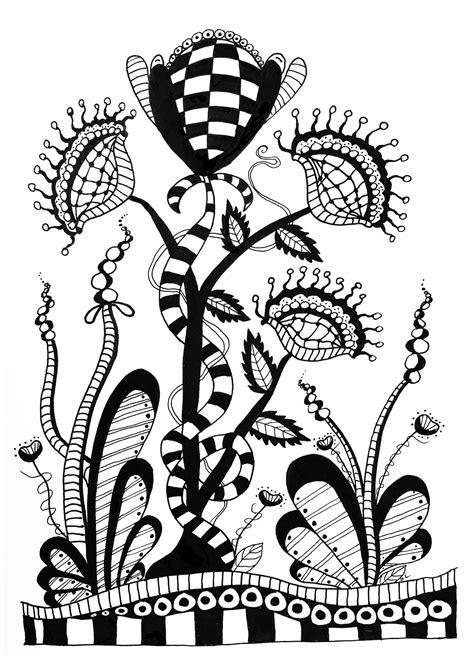 Zentangle a colorier fleurs sauvages - Coloriage Zentangle