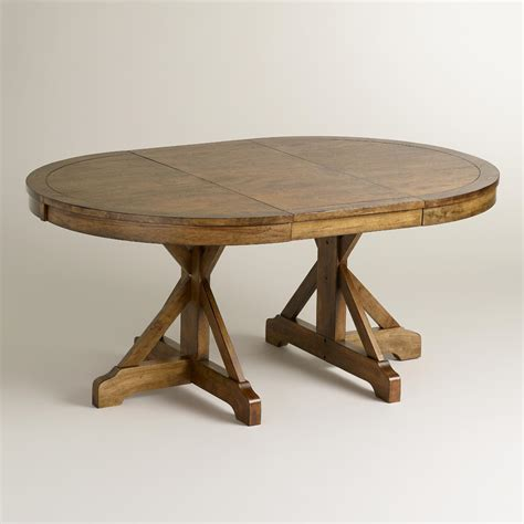 Oblong Kitchen Tables To Oval X Base Extension Table World Market