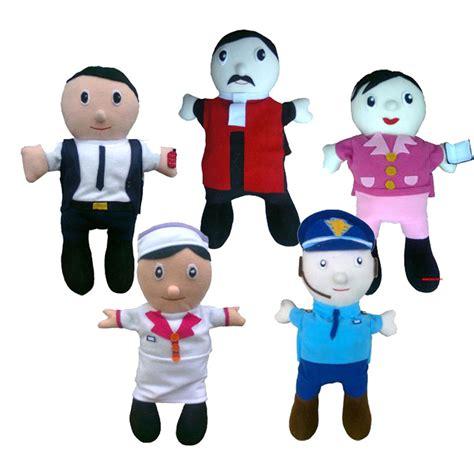 mainan edukatif boneka tangan profesi kayu seru
