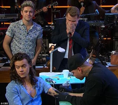 harry styles tattoo late late show one direction s harry styles gets late late show tattooed