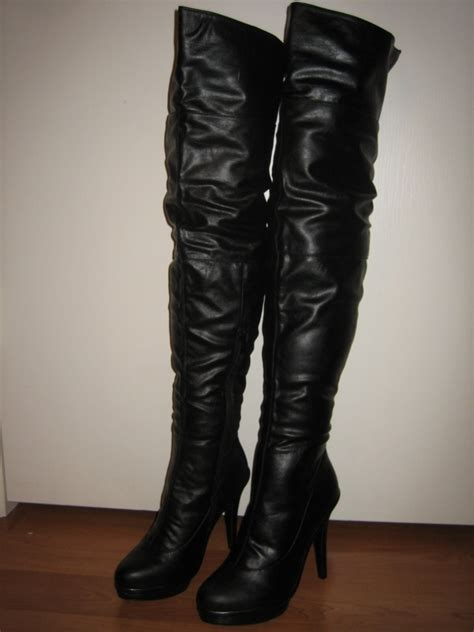 faux leather toe thigh high 5 quot heel boots all sz ebay