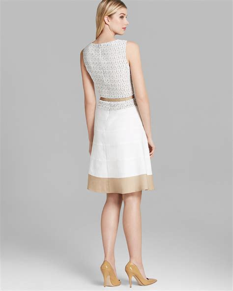 Wst 9529 White Lace Belted Dress 1 klein dress sleeveless jacquard belted swing in white