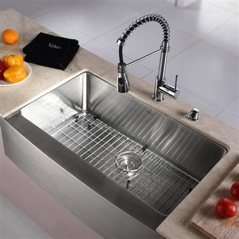kitchen sink 10 inch depth kraus khf20033kpf1612ksd30ch 33 inch farmhouse single bowl