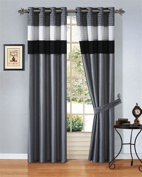 Black And Grey Curtains 12pcs Black White Grey Striped Comforter Set Window Curtain Size