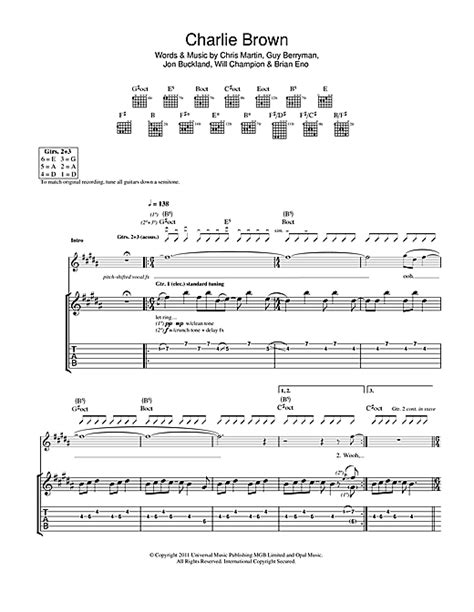coldplay charlie brown lyrics charlie brown guitar tab by coldplay guitar tab 116145