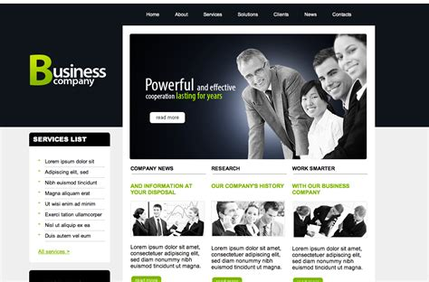 free dreamweaver business website templates