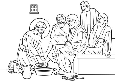 Jesus Washes The Disciples Coloring Page Last Supper Coloring Pages For Children Free Coloring Pages