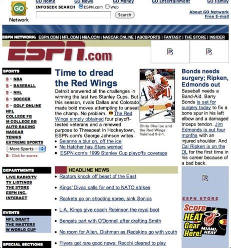 awesome check out espn s home page circa april 19