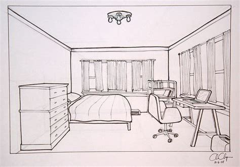 sketch of a bedroom homework one point perspective room drawing ms chang s