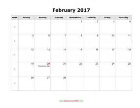 blank calendar for february 2017