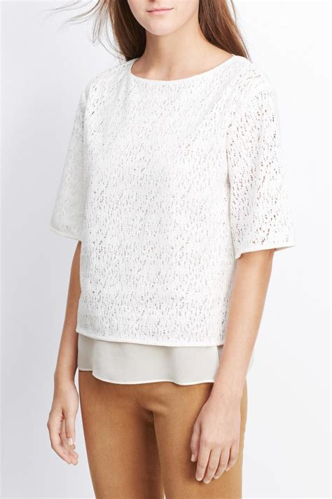 Blouse Import 0522 Signature V S M L Blouse vince white lace top from canada by two fifty two boutique shoptiques