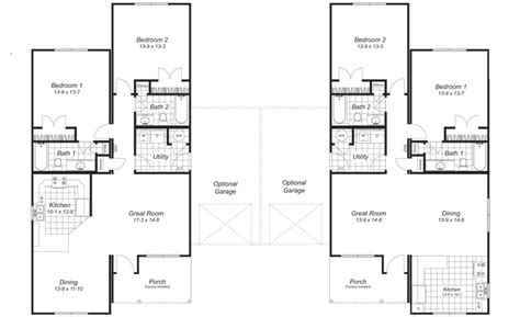 Duplex House Plans With Garage Duplex Plans With Garages On Outside Studio Design Gallery Best Design
