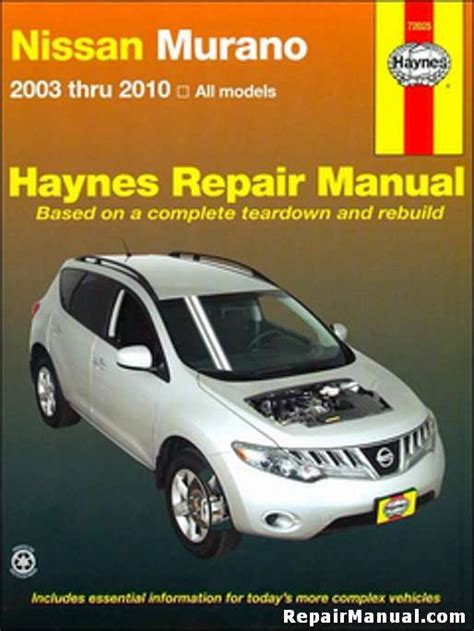 free online auto service manuals 2009 nissan murano transmission control nissan murano 2003 2010 suv haynes repair service manual