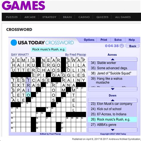 usa today crossword up and down rush is a band blog updates and other random rush stuff