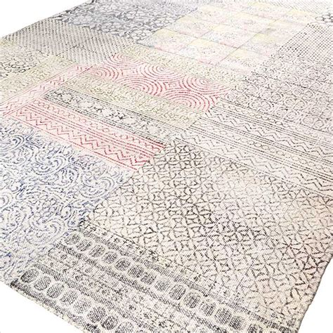 Flat Weave Cotton Area Rugs Colorful White Cotton Printed Area Accent Dhurrie Rug Woven Flat Weave 3 X 5 4 X 6 Ft