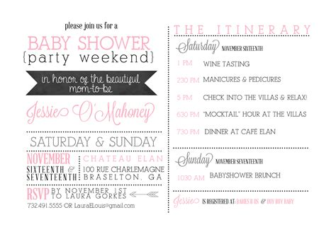 bridal shower itinerary template sugar weekend itinerary invites