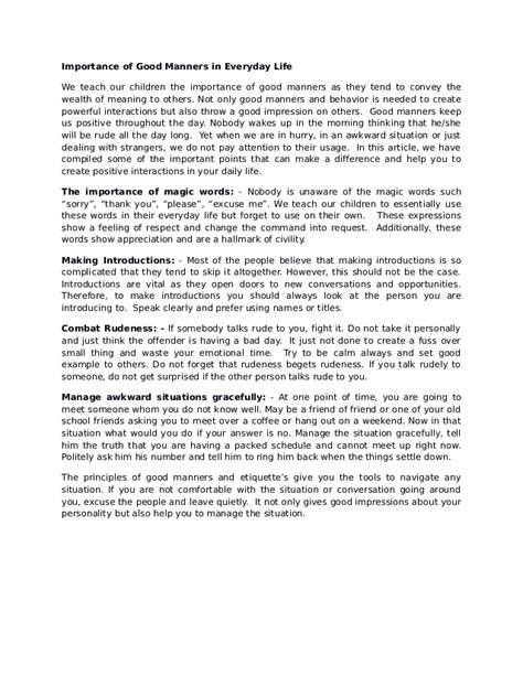 Manner Essay by Importance Of Manners Essay