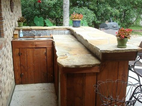 outdoor bar top whimsical slate stone and wood outdoor bar