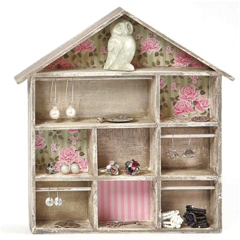 shabby chic shadow box wooden house wide shaped wall decoration shabby chic