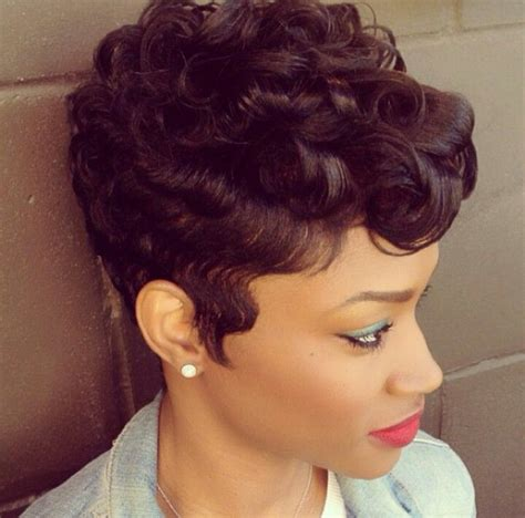 black women with short perms hairstyle short curly haircut w wavy sideburns hair work 2