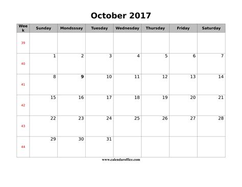 printable calendar for october 2017 october 2017 calendar printable templates calendar office