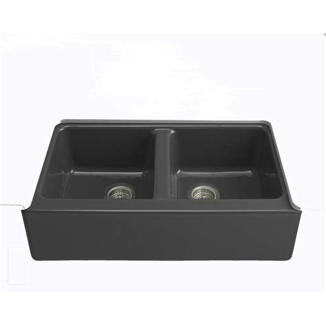 Black Apron Front Kitchen Sink by Kohler Hawthorne Undermount Farmhouse Apron Front Cast