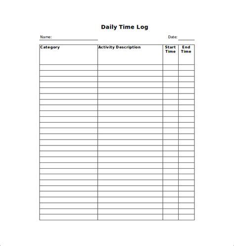 weekly time log template 10 time log templates pdf word excel free premium