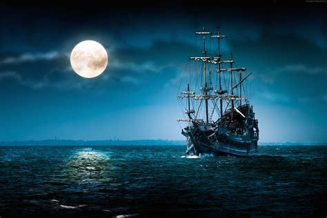 Wallpaper ship, sea, moon, night, Art #4193