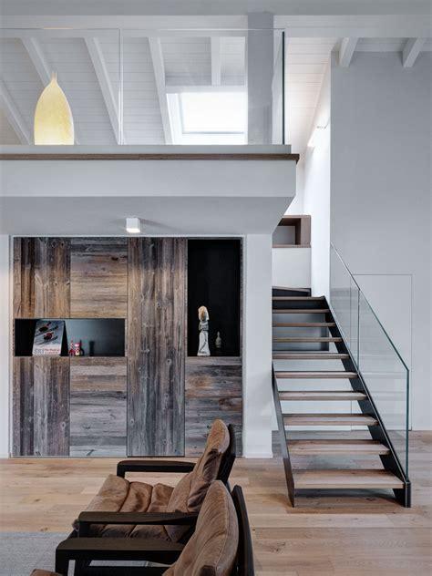 double height loft mezzanine glass staircase