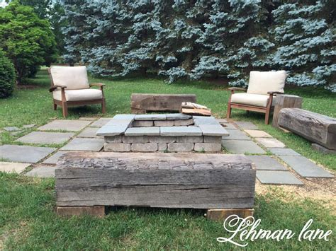 wooden fire pit bench stone patio diy fire pit wood beam benches lehman lane