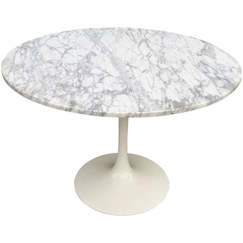Marble Dining Table Base Mid Century Modern Tulip Base Dining Table With Marble Top At 1stdibs