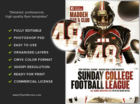 football flyers templates american football flyer template 3 flyerheroes